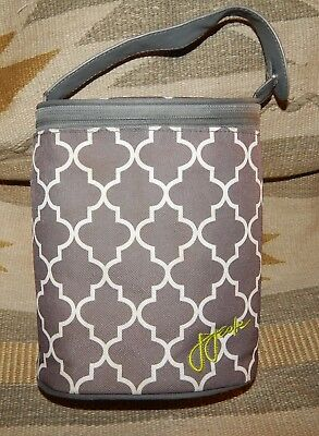 """JJ Cole Insulated Bottle Tote Cooler ~ Gray & White Stone Arbor Pattern~ 8"""" Tall"""