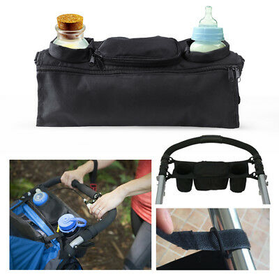 Baby Pram Stroller Pushchair Safe Console Tray Cup Holder Organizer Hanging Bag