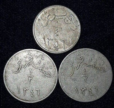 3 Coins from Saudi Arabia.  1927-1937.  No Reserve!