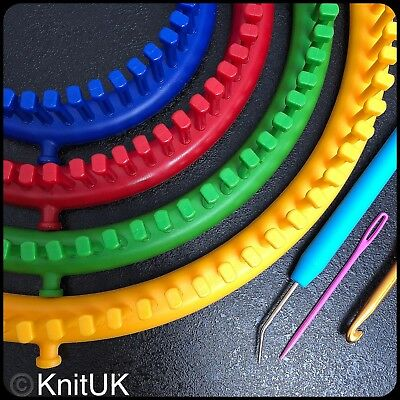 KnitUK Round Knitting Looms Set of 4: with pegs all-fitted (pegs in loom colour)