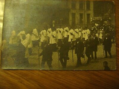 Carte photo Belgique ? - PROCESSION Saint Sacrement Fête Dieu 1919 Thuriféraires