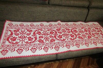 Vintage hand stitch Romanian runner, decorative textile handmade center table