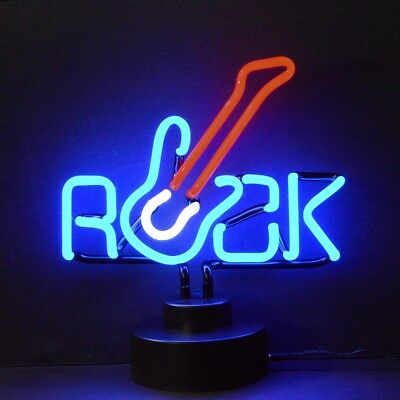 Neon Sign Rock With Fender Electric Guitar Music Light Table Readin Lamp Large!
