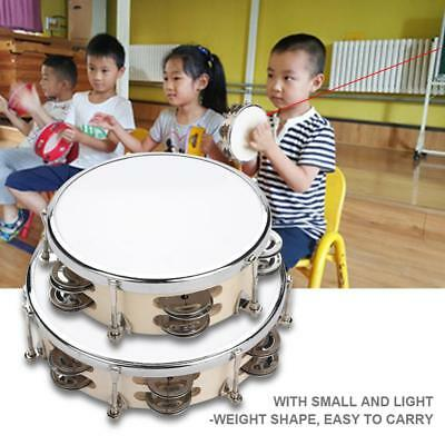 "6""/8"" Tunable Wood Tambourine Hand Drum Percussion Musical Instrument KTV Rhythm"