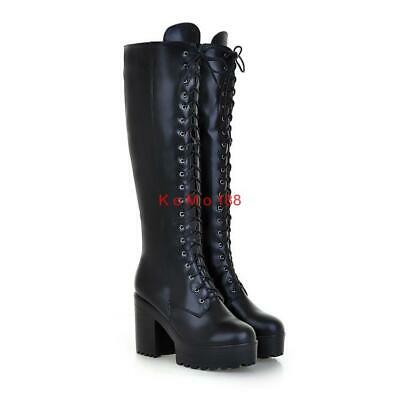 Women's Chunky Heel Platform Punk Knee High Mid Combat Lace Up Riding Boots New