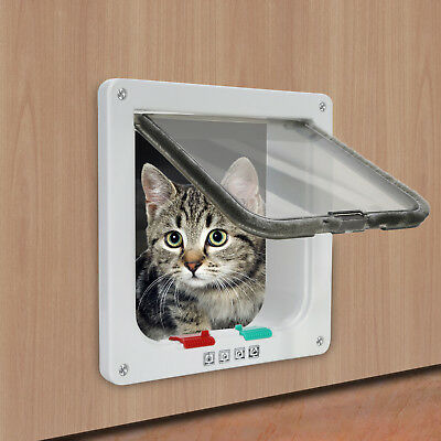 4 Way Safe Lockable Pet Cat  Dog  S M L Flap Door White Brown Screen Locking