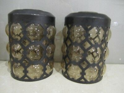 Very Unique Vintage black metal light shades/lamp with blown glass