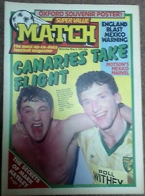Match Football Magazine 3rd May 1986 - Norwich City, Oxford United Milk Cup