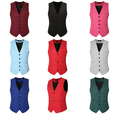 Fashion Mens Casual Slim Fit Cotton Vest Wedding Formal Tuxedo Waistcoat