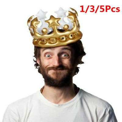 Inflatable Crown Photo Booth Selfie Prop King Queen Costume Birthday Party Toys