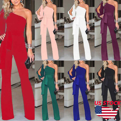 US Women Summer Party Clubwear Playsuit Jumpsuit One Shoulder Long Trousers Pant