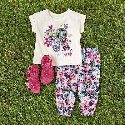 Toddler Kids Baby Girls Casual Outfits Clothes T-shirt Tops +Long Pants 2PCS Set