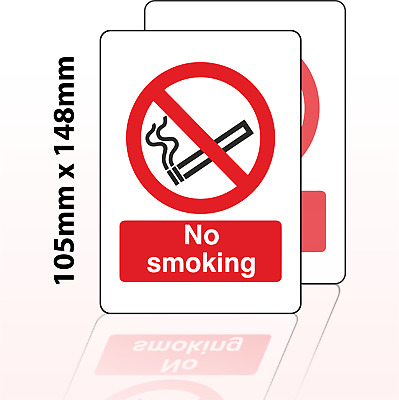 No Smoking Sign Vinyl Stickers A6 - 105 x 148 mm (2 Pack)