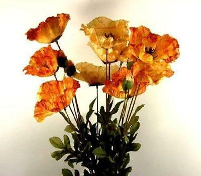 Three Stems of Amber Silk Poppies - Artificial Realistic Looking Flowers- Decor