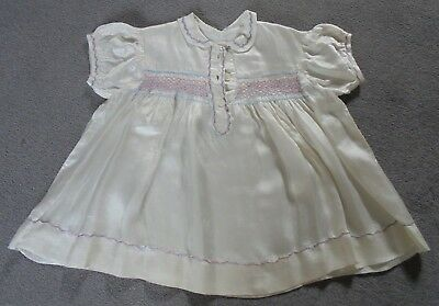 Baby/Toddler Cream Satin Dress - true vintage,30/50's,embroidery,wearable,v good