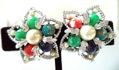 "Stunning Vintage Estate Signed Sarah Cov Flower 1"" Clip Earrings!!! 9763C"