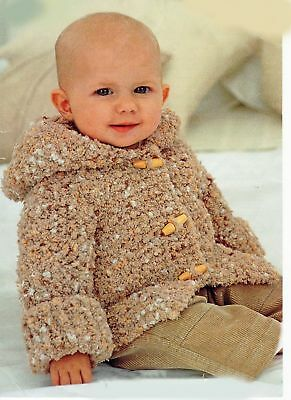 Knitting Pattern -Baby-6yrs Hoodie Chunky Jacket  (6 sizes) PO304