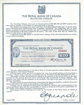 Royal Bank of Canada - Specimen Travellers Cheque $20
