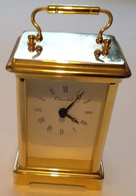 "Vintage Churchill Brass Quartz Carriage Mantel Clock 4.5"" / 11.5cm high"
