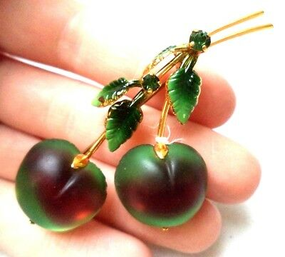 "Stunning Vintage Estate Signed Austria Cherries Fruit Food 2 1/4"" Brooch!! 9764O"