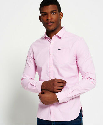 New Mens Superdry Cut Away Collar Shirt Micro Gingham Pink