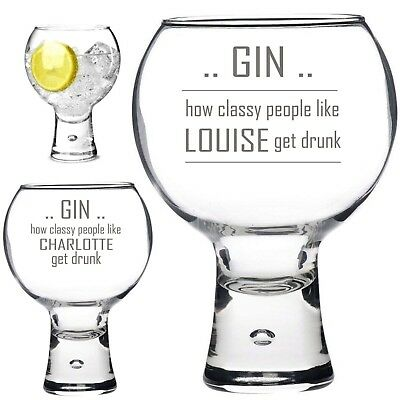 Personalised Engraved 540ml thick stem GIN glass CLASSY DRUNK GIN TONIC GIFT