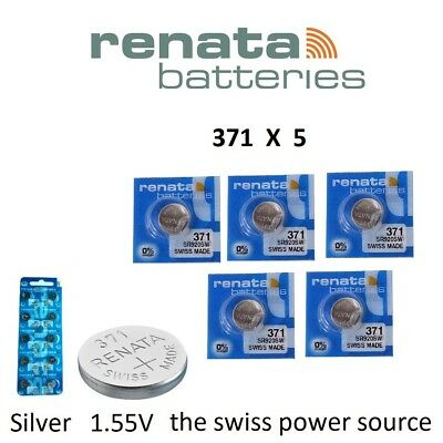 5 x Renata 371 1.55v Watch Coin / Cell Batteries SR920SW Mercury Free
