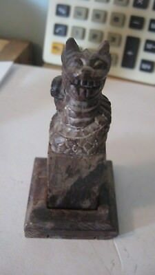 Old Chinese Soapstone Hand-Carved DRAGON Wax Seal/Ink Stamp W/BASE-BRICK