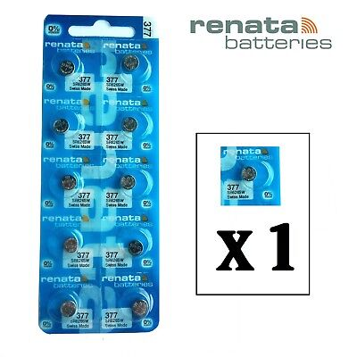 1 x Renata 377 1.55v Watch Coin / Cell Battery SR626SW Mercury Free