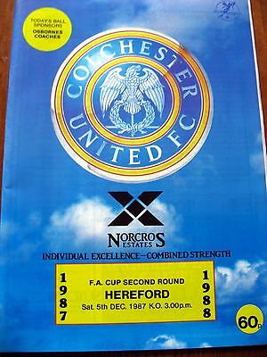 Colchester United v Hereford 1987-88 FA Cup Football Programme