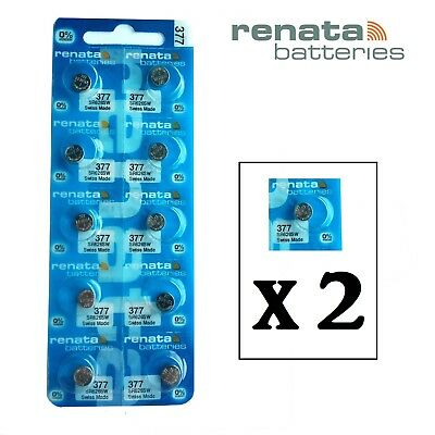 2 x Renata 377 1.55v Watch Cell Batteries SR626SW Mercury Free