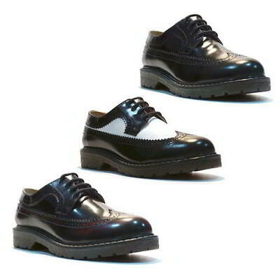 Grinders Bertrum Mens Black White Burgandy Brogues Air Cushioned Shoes Size 7-11