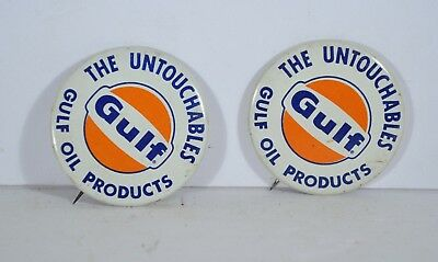 Pair of Vintage Gulf Oil Pins Advertising The Untouchables Litho Pinback