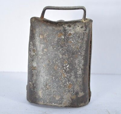 Antique Vintage Cowbell Primitive Early Hand Made Cow Bell w/ Clapper