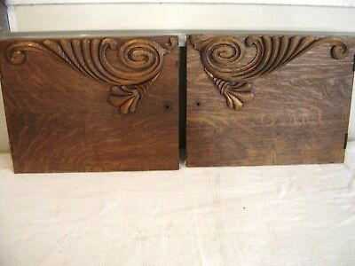 Antique Quarter-Sawn Oak Pediment-Salvage Two Doors with Applied Carving 317