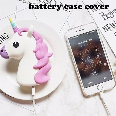 New Emoji Unicorn Cartoon USB Portable Travel External Backup Battery Case Cover