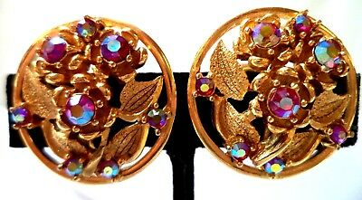 "Stunning Vintage Estate Signed Puccini Flower Leaf 1 1/8"" Clip Earrings!!! 9768P"