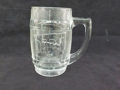 Vintage Dad's Root Beer Barrel Shaped Thick Glass Mug Dads Excellent Condition
