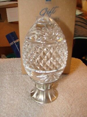 AVON GIFT COLLECTION  MAJESTIC CRYSTAL EGG  in box   LEAD & PEWTER