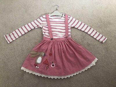 Next Pink Bunny,Mouse Strawberry Skirt With Detachable Braces & top 4-5