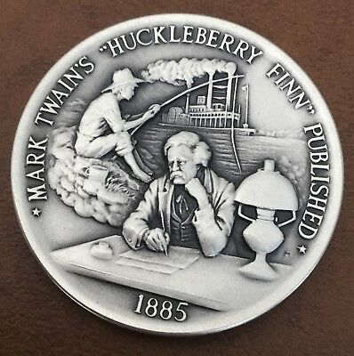 Danbury Mint Mark Twain Huckleberry Finn Published Sterling Silver Coin Medal
