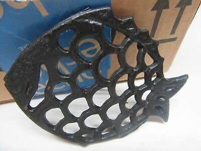 Estate Antique Wrought Iron Fish Trivet Wall Decor