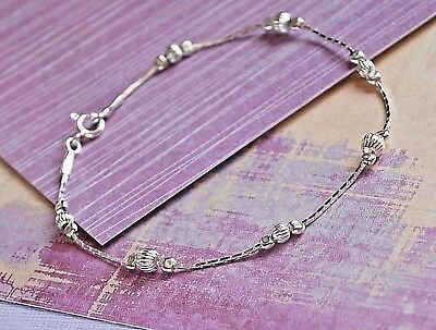 Solid 925 Sterling Silver Bracelet dainty everyday wear,  layering Made in UK