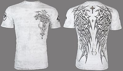 ARCHAIC by AFFLICTION Mens T-Shirt SPIKE WINGS Tattoo WHITE Biker MMA $40