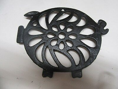 Estate Antique Wrought Iron Trivet With Pig Decor Wall Decor