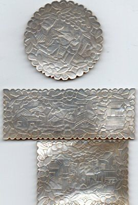 3 Handcarved  Chinese Gaming Chips For European or American Market, C 1840