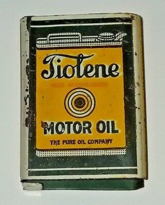 Early Tiolene Motor Oil Pure Oil Company Advertising Match Box Holder