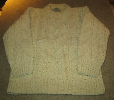 Vintage Celtic Aran Wool Sweater Made in Ireland & Hand Knitted