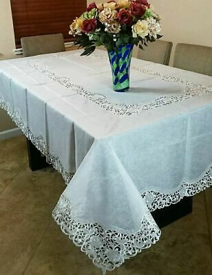 SALE 72x108'' Oval Beige Embroidered Floral Fabric Embroidery Tablecloth Napkins