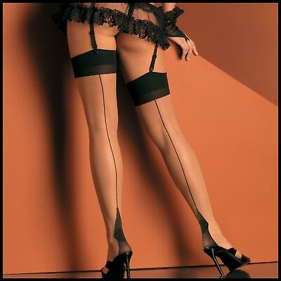 Desire Hosiery Cuban Heel Seamed Thigh High Stockings, Nude One Size Regular